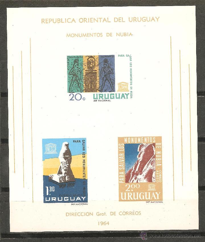 SELLOS(9) HOJA BLOQUE NUEVA URUGUAY AÑO 1964 MONUMENTOS DE NUBIA (Sellos - Extranjero - América - Uruguay)