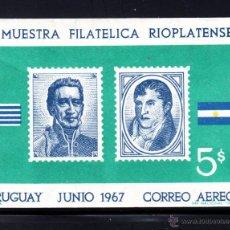 Sellos: URUGUAY HB 15** - AÑO 1967 - EXPOSICION FILATELICA RIOPLATENSE. Lote 49221436