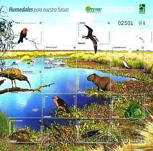 URUGUAY 2015-SERIE HUMEDALES PARA NUESTRO FUTURO-TT.: FLORA,FAUNA,AGUA (Sellos - Extranjero - América - Uruguay)