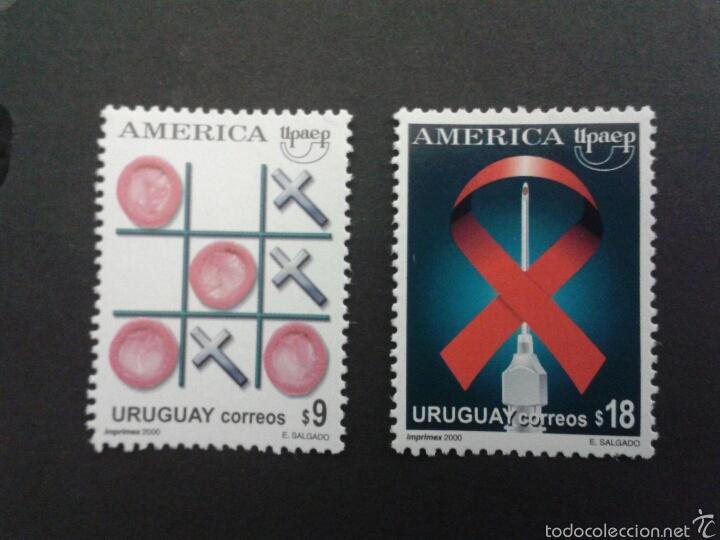 SELLOS DE URUGUAY. YVERT 1925/6. (AMÉRICA UPAEP). MEDICINA. SIDA. SERIE COMPLETA NUEVA SIN CHARNELA. (Sellos - Extranjero - América - Uruguay)