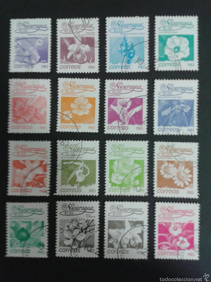 SELLOS DE NICARAGUA. FLORA YVERT 1248/63.. SERIE COMPLETA USADA. (Sellos - Extranjero - América - Uruguay)