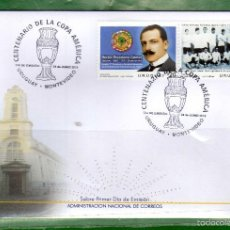 Sellos: URUGUAY-2016-FDC- 100AÑOS DE LA COPA AMÉRICA-TT:DEPORTES,FUTBOL,ESCUDOS,BIGOTES-. Lote 58717315