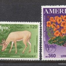 Sellos: URUGUAY 1330/31** - AÑO 1990 - AMERICA - UPAE - FLORA Y FAUNA. Lote 60408207