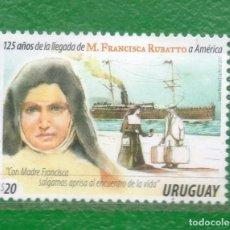 Sellos: URUGUAY-2017- 125 AÑOS DE LA LLEGADA DE MA. FCA. RUBATTO A AMÉRICA TT:BARCOS, VALIJAS,PERSONALIDADES. Lote 98988315