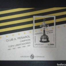 Sellos: URUGUAY. YVERT HB-41. SERIE COMPLETA NUEVA SIN CHARNELA. DEPORTES. FÚTBOL. CLUB. A. PEÑAROL. Lote 104661444