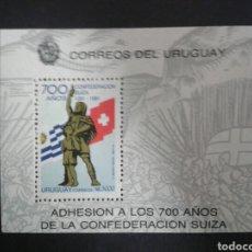 Sellos: URUGUAY. YVERT HB-40. SERIE COMPLETA NUEVA SIN CHARNELA. BANDERAS. 700 AÑOS CONF. SUIZA. Lote 104661566
