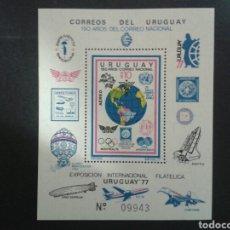 Sellos: URUGUAY. YVERT HB-28A. SERIE COMPLETA NUEVA SIN CHARNELA. EXPOSICIÓN URUGUAY 77. Lote 104747302