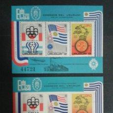 Sellos: URUGUAY. YVERT HB-28. DENTADA Y SIN DENTAR. SERIE COMPLETA NUEVA SIN CHARNELA.. Lote 104747324