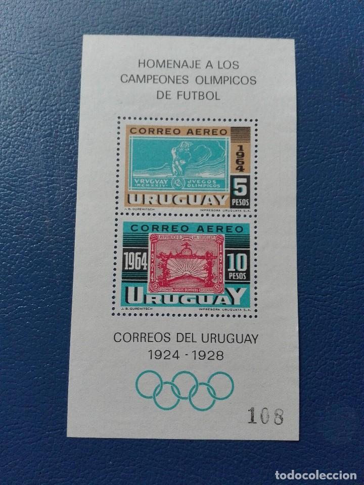 HOJA BLOQUE1964 CAMPEONATO HOMENAJE A LOS CAMPEONES OLÍMPICOS DE FÚTBOL 1924 1928 (Sellos - Extranjero - América - Uruguay)