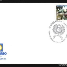 Sellos: 2004 POLICIA HELICOPTERO MOTOCICLETA SOBRE PRIMER DIA SPD VIGILANCIA RUTAS URUGUAY. Lote 117947291