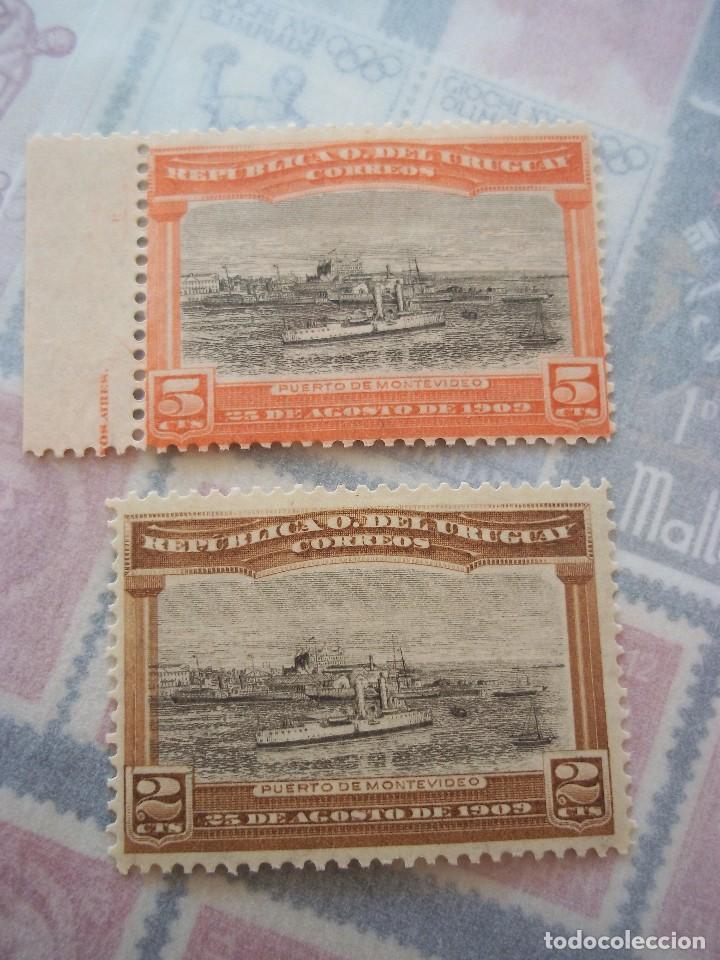 SELLOS ANTIGUO URUGUAY 1909 BARCOS NUEVOS CON GOMA (Sellos - Extranjero - América - Uruguay)