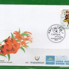 Sellos: URUGUAY 2018- CARNAVAL-TT: SOMBREROS, DISFRACES 1 FDC. Lote 112331551