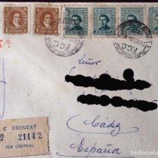 Sellos: SOBRE CIRCULADO ENTRE MONTEVIDEO Y CÁDIZ, CERTIFICADA. 1950. Lote 120690871