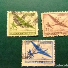 Sellos: URUGUAY 1947 AVION QUADRIMOTEUR YVERT PA 127 /129 FU. Lote 127686739