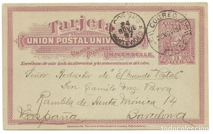 ENTERO POSTAL REPUBLICA ORIENTAL DEL URUGUAY 3 CENTÉSIMOS - CIRCULADA DE MONTEVIDEO A BARCELONA 1897 (Sellos - Extranjero - América - Uruguay)