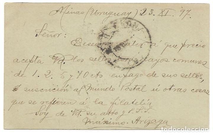 Sellos: ENTERO POSTAL REPUBLICA ORIENTAL DEL URUGUAY 3 CENTÉSIMOS - CIRCULADA DE MONTEVIDEO A BARCELONA 1897 - Foto 2 - 139893318