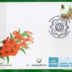 Sellos: URUGUAY-2018 EN FDC-100 AÑOS DE LA CATEDRAL SAN FRANCISCO-TACUAREMBÓ. Lote 146588246