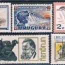 Sellos: URUGUAY 1954 / 71 - YVERT 631 + 667 + 706 + 781 + 812 ( ** ). Lote 160358958