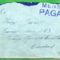 Sellos: URUGUAY 1938 (7 NOV.) SOBRE CIRCULADO POR MENSAJERÍA ARIEL,18 DE JULIO Y CUAREIM. Lote 162034314