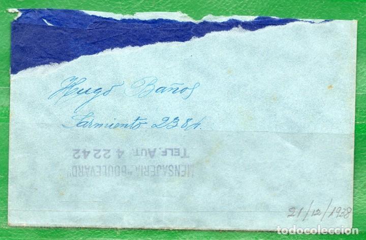 URUGUAY 1938 (21 DE DIC.) SOBRE CIRCULADO POR MENSAJERÍA BOULEVARD, TEL.: 4 22 42 (Sellos - Extranjero - América - Uruguay)