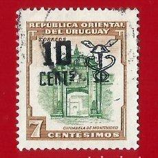 Sellos: URUGUAY. 1958. CIUDADELA DE MONTEVIDEO. RESELLADO. Lote 211590151