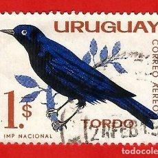 Sellos: URUGUAY. 1963. PAJAROS. TORDO. Lote 211595920
