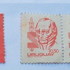 Sellos: 3 SELLOS URUGUAY, FRUCTUOSO RIVERA Y JOSE ARTIGAS. Lote 213515345