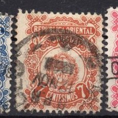 Sellos: URUGUAY/1906-07/USED/SC# 171-3/ ESCUDO DE ARMAS. Lote 218479511