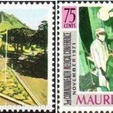 Sellos: MAURICIO 1971 - CONGRESO DE MEDICINA DE LA COMMONWEALTH - YVERT Nº 375-376**. Lote 218706005