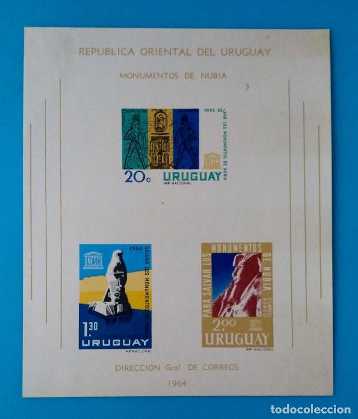 HOJITA SELLOS POSTALES URUGUAY 1964 PRESERVACIÓN DE MONUMENTOS NUBIOS (Sellos - Extranjero - América - Uruguay)