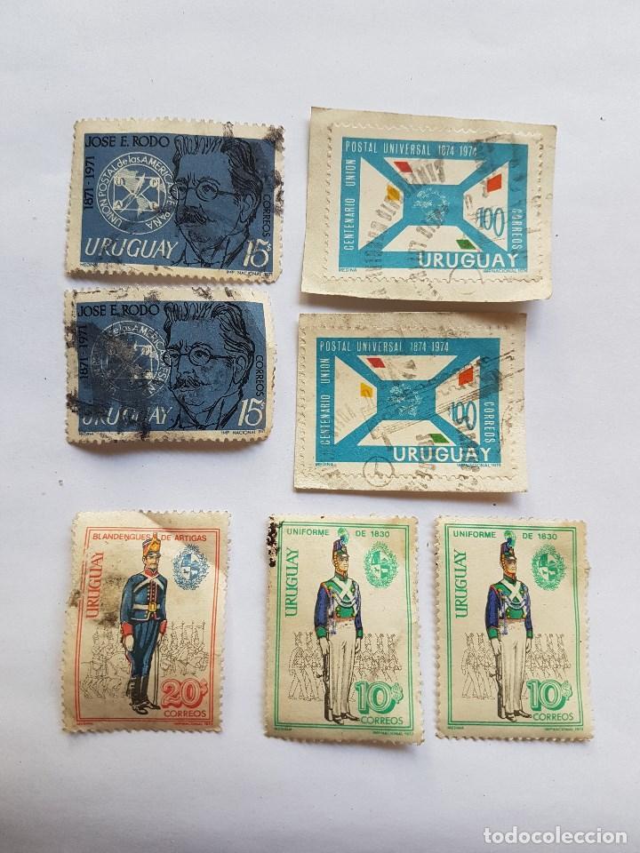 URUGUAY 7 SELLOS, BLANDENGUES DE ARTIGAS, JOSE RODO, CENTENARIO UNION POSTAL UNIVERSAL 1974 (Sellos - Extranjero - América - Uruguay)