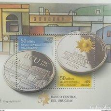 Sellos: O) 2017 URUGUAY, MONEDA CONMEMORATIVA BANCO CENTRAL - MONEDA - GOLDEN SUN - OBRA DE CONSTRUCCION DE. Lote 221735090