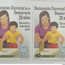 Sellos: O) URUGUAY 2017, DECLARACIÓN UNIVERSAL DE DEMOCRACIA - MUJER Y NIÑO - EDUCACIÓN COMPLETA Y DEMOCRACI. Lote 221735180