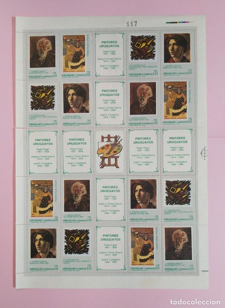 HOJA DE SELLOS DE URUGUAY 1988 PINTORES URUGUAYOS (Sellos - Extranjero - América - Uruguay)