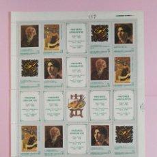 Sellos: HOJA DE SELLOS DE URUGUAY 1988 PINTORES URUGUAYOS. Lote 223584952