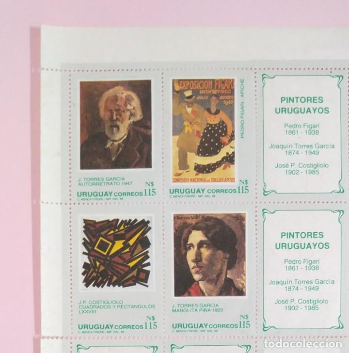 Sellos: HOJA DE SELLOS DE URUGUAY 1988 PINTORES URUGUAYOS - Foto 2 - 223584952