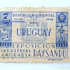 Sellos: SELLO POSTAL URUGUAY 1948, 7 C, EXPOSICIÓN INDUSTRIAL Y AGRARIA PAYNSANDÚ, USADO. Lote 231581650