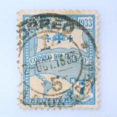 Sellos: SELLO POSTAL URUGUAY 1933, 7 C,BANDERA DE LA RAZA, 441 ANIVERSARIO DEL IZADO POR COLÓN, USADO. Lote 231582410