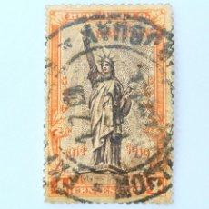 Sellos: SELLO POSTAL URUGUAY 1919, 4 C, ESTATUA DE LA LIBERTAD, USADO. Lote 231583145