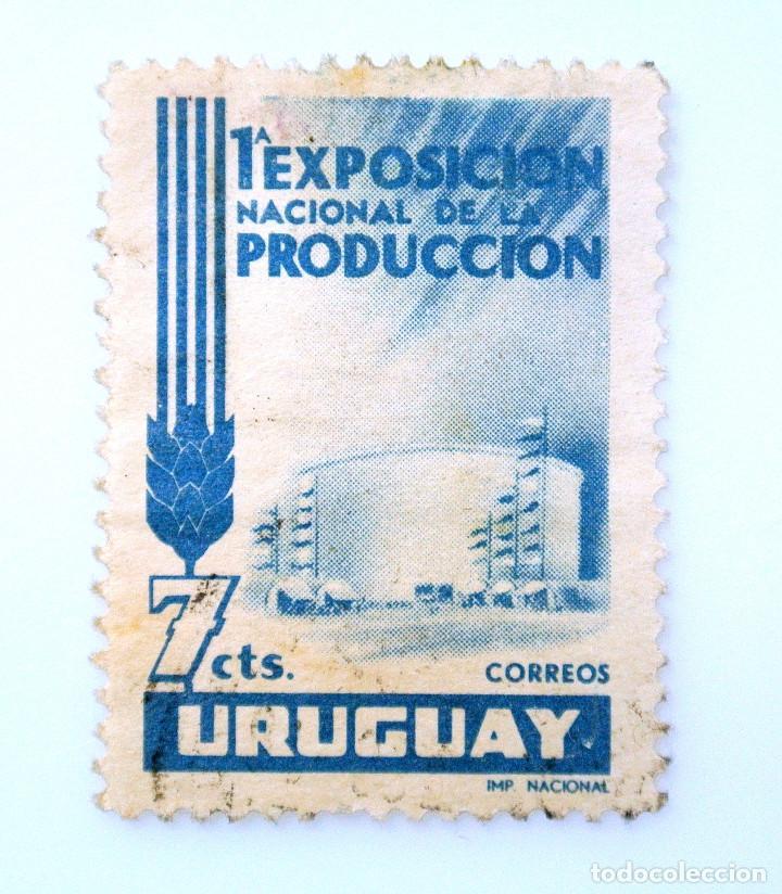 SELLO POSTAL URUGUAY 1956, 7 C, PRIMERA EXPOSICION NACIONAL DE LA PRODUCCION, USADO (Sellos - Extranjero - América - Uruguay)