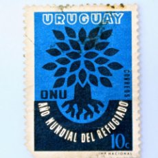 Sellos: SELLO POSTAL URUGUAY 1960, 10 C, O.N.U. AÑO MUNDIAL DEL REFUGIO, USADO. Lote 231596855