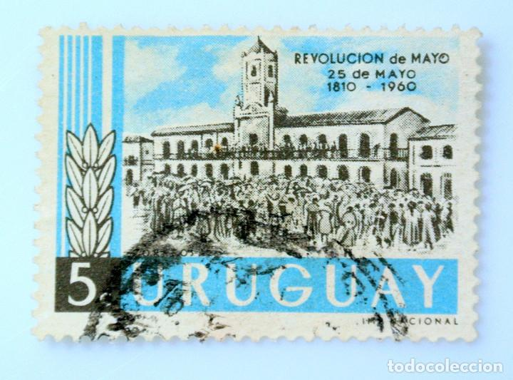 SELLO POSTAL URUGUAY 1960, 5 C, REVOLUCION DE MAYO 1810, USADO (Sellos - Extranjero - América - Uruguay)
