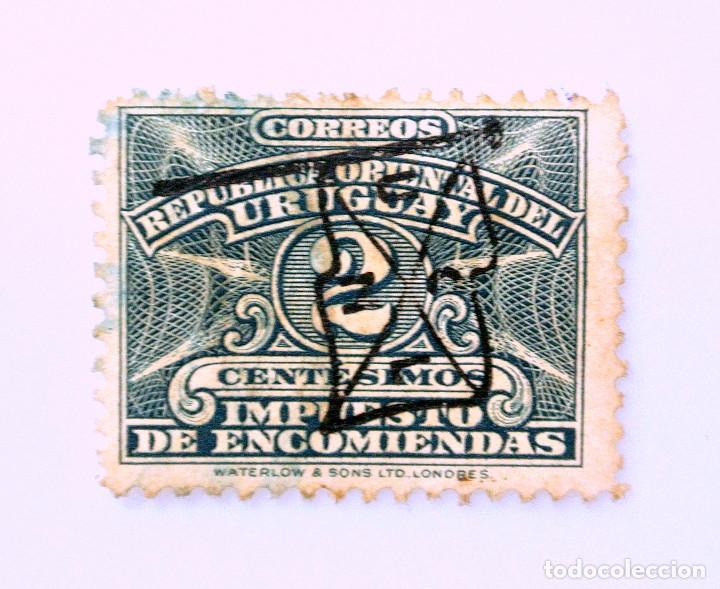 SELLO POSTAL URUGUAY 1928, 2 C, IMPUESTO DE ENCOMIENDAS, SELLO DIFICIL DE ENCONTRAR, OVPT, USADO (Sellos - Extranjero - América - Uruguay)