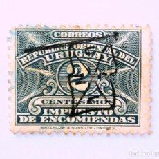 Sellos: SELLO POSTAL URUGUAY 1928, 2 C, IMPUESTO DE ENCOMIENDAS, SELLO DIFICIL DE ENCONTRAR, OVPT, USADO. Lote 231803300