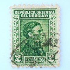 Sellos: SELLO POSTAL URUGUAY 1928, 2 C, GENERAL JOSÉ ARTIGAS, USADO. Lote 231807175