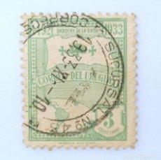 Sellos: SELLO POSTAL URUGUAY 1933, 3 C, BANDERA DE LA RAZA, USADO. Lote 231820810