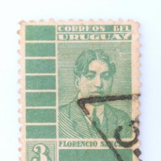 Sellos: SELLO POSTAL URUGUAY 1935, 3 C, FLORENCIO SANCHEZ, USADO. Lote 231821835