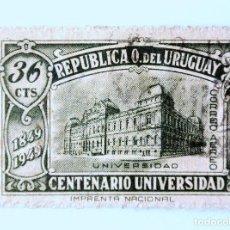 Sellos: SELLO POSTAL URUGUAY 1949, 36 C, CENTENARIO DE LA UNIVERSIDAD DE MONTEVIDEO, USADO. Lote 231862910