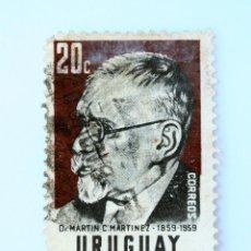 Sellos: SELLO POSTAL URUGUAY 1960, 20 C, DR. MARTIN C. MARTINEZ, USADO. Lote 231867720