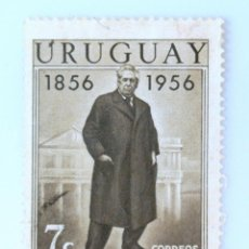 Sellos: SELLO POSTAL URUGUAY 1956, 7 C, CENTENARIO DEL NACIMIENTO PRESIDENTE JOSE BATLLE ORDOÑEZ, USADO. Lote 231871890